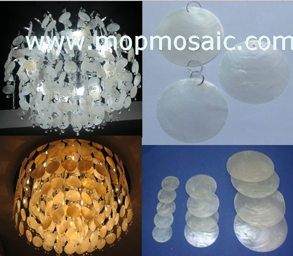 White capiz shell circles/shell chandelier accessory