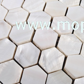 6MM thickness Hexagonal shape pure white mother of pearl mosaic