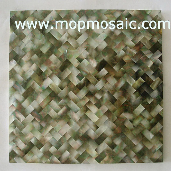 Natural blacklip mother of pearl panel in brick style