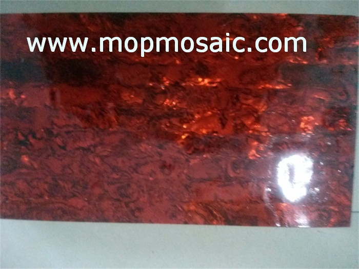 Dyed red color paua shell veneer
