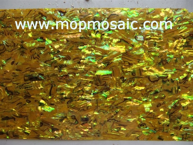 Dyed goldenrod abalone shell sheet